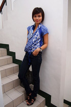 blue Trucco blouse - navy Mango jeans - black gladiator heels Zara heels