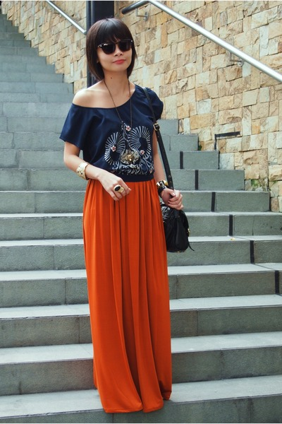 Burnt Orange Maxi Skirt Ms Eggplant Skirts, Dark Brown Forever 21 ...
