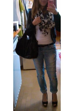 aquamarine New Yorker jeans - Stradivarius jacket - H&M scarf - Promod belt