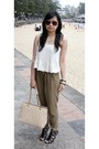 White-bardot-top-brown-topshop-pants-black-nine-west-shoes-beige-chanel-ba