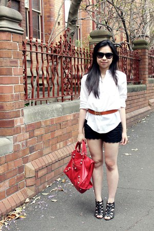 ruby red balenciaga bag - white Zara shirt - black Forever New shorts