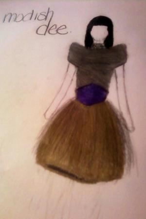 gold skirt - silver shirt - purple belt -