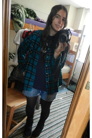 black offbrand tights - black thrifted boots - teal Northwest Territory shirt