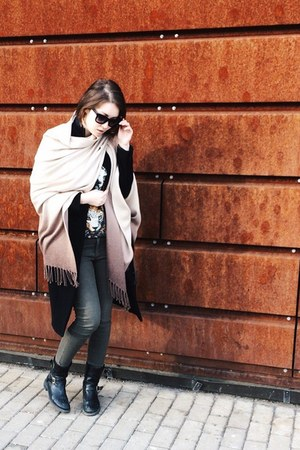 H&M jeans - Patrizia Pepe boots - JNBY coat - WoolStreet cape - H&M sweatshirt