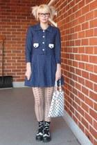 navy vintage dress - black underground england shoes - nude H&M tights