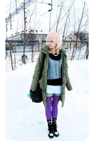 dark khaki parka H&M coat - amethyst starry pattern random tights