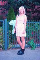 black backpack boots - pink thrifted dress - light blue denim shirt