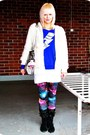 Purple-galaxy-romwe-leggings-silver-h-m-bag-blue-sokos-jumper