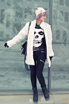 white faux fur random brand coat - black combat boots Duffy boots