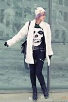 white faux fur random brand coat - black combat boots Duffy boots