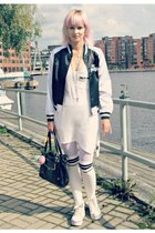 black Sex Pistols coat - white LDS dress - black vintage bag