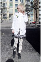 white menswear random shirt - white print random brand tights