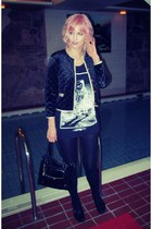 black vintage jacket - black vintage bag - black H&M shorts