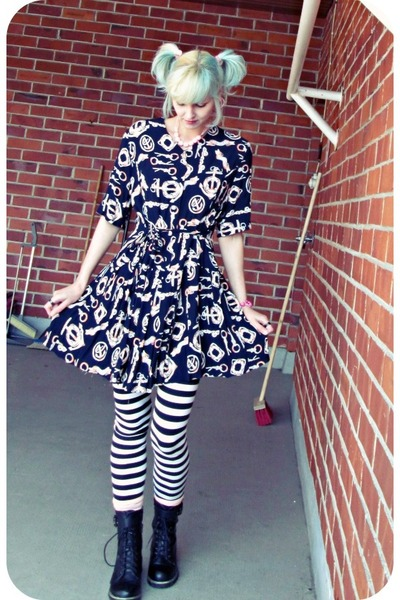 black vintage dress - crimson random boots - white Only leggings
