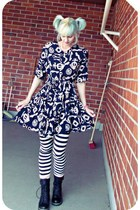 black vintage dress - crimson random boots - white Only leggings