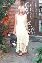 white random brand sandals - off white lace Sheinside dress - black vintage bag