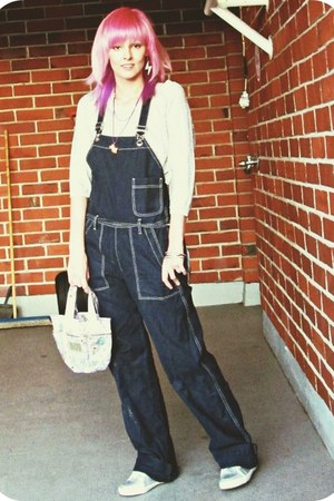 silver H&amp;M shirt - navy overalls Diesel jeans - light pink Hamburgirl bag