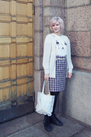 puce wool vintage skirt - light purple Swankiss bag - black H&M sneakers