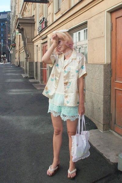 ivory top - ivory pajama shirt vintage shirt - aquamarine Sheinside shorts