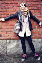 black leather jacket vintage jacket - white penguin beanie H&M hat