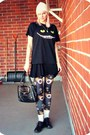 Black-thrifted-dress-white-h-m-hat-black-romwe-leggings-black-vintage-bag