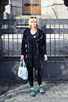 black H&M dress - black Iblis coat - light blue random brand bag
