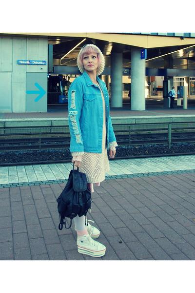 light pink vintage dress - wool beanie DIY hat - blue denim jacket shein jacket