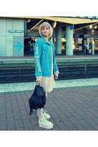 light pink vintage dress - wool beanie DIY hat - blue denim jacket shein jacket