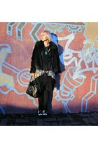 black reflex jacket - black vintage bag - black Evil Teddy skirt