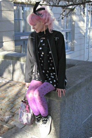 black H&amp;M dress - black thrifted coat - amethyst random tights