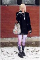 black Zara sweater - amethyst galaxy romwe leggings - silver H&M bag