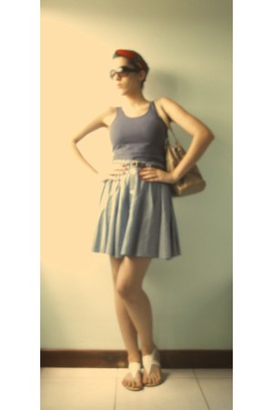 navy skirt - off white Arezzo shoes - camel leather bag - teal Hering top
