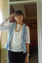 off white blouse - light blue thrifted vest - light brown gift necklace