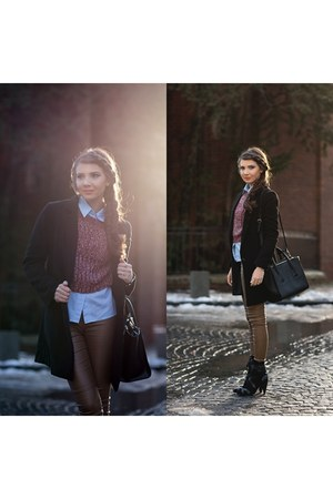 Sheinside coat - Jessica Buurman boots - Little Mistress sweater - asos shirt