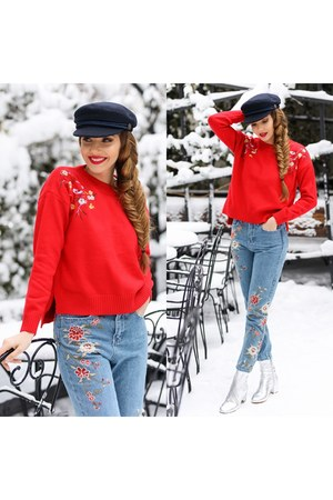 zaful jeans - Kurt Geiger boots - zaful hat - zaful sweater