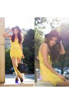 black Choies boots - yellow Sheinside dress - black OASAP hat - black Jadu bag