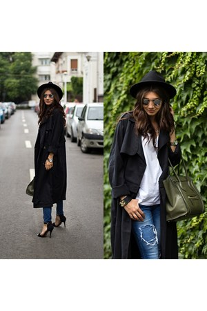 Front Row Shop coat - ripped storets jeans - khaki Celine bag