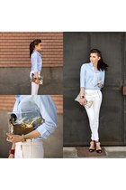 white white Zara pants - light blue blue asos shirt - transparent Sheinside bag