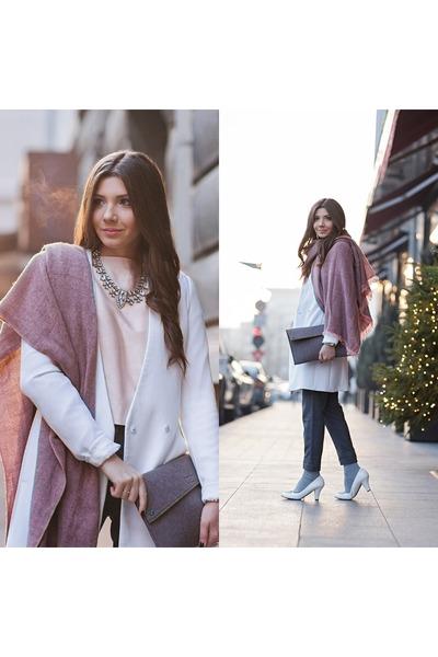 Sheinside coat - Chie Mihara shoes - Sheinside scarf - Front Row Shop pants