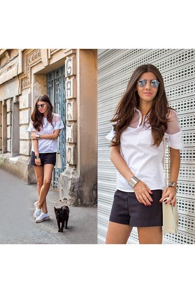 silver OASAP bracelet - white OASAP shirt - eggshell kurtmann bag