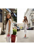 striped Front Row Shop vest - plexiglass asos bag - asos sandals