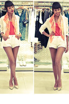 white fashion shorts - carrot orange casual shirt