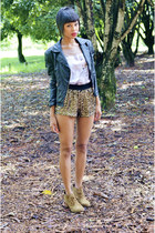 mustard sequin Zara shorts