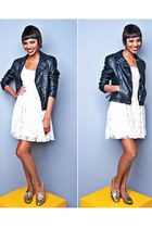 black leather jacket jacket - cream white dress dress