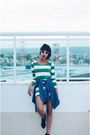 Green-stripes-helmet-dress-blue-streetstyle-jeans