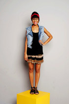 bronze skirt - black t-shirt - sky blue jeans vest