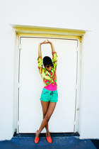 hot pink blouse - carrot orange slipper shoes - chartreuse shirt