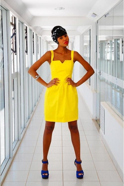 yellow vintage dress dress - blue sandals sandals - black turban accessories