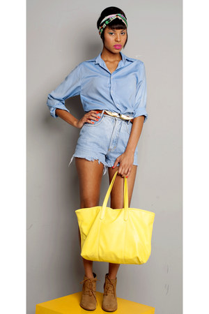 sky blue jeans shorts - yellow shorts