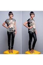 black leather Colcci pants - fashion Zara t-shirt